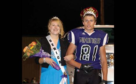 Charlo High School crowned Alyssa Doty and Tristan Santee Homecoming Queen and King during halftime.