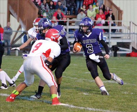 Viking sophomore quarterback Michael Delaney hit his target on 13 of 14 passes for 99 yards and three touchdowns during Friday's homecoming game against Arlee