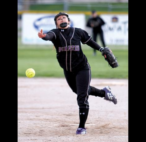 Polson pitcher Shalaina Duford lets a pitch fly during a home game earlier this year. Duford was one of three Polson softball players named to the All-State team.