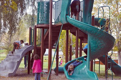Children play in Bockman Park.