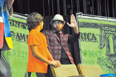 In another skit, Prillman plays a crazy man on a game show with a student from Ronan Middle School.