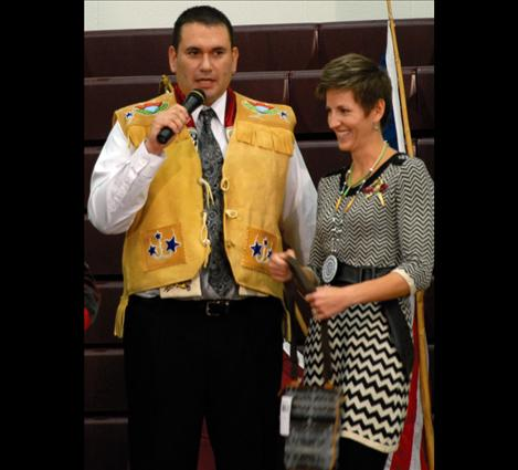 SKC President Robert DePoe III dons his new beaded buckskin vest. The board presented DePoe with the vest.