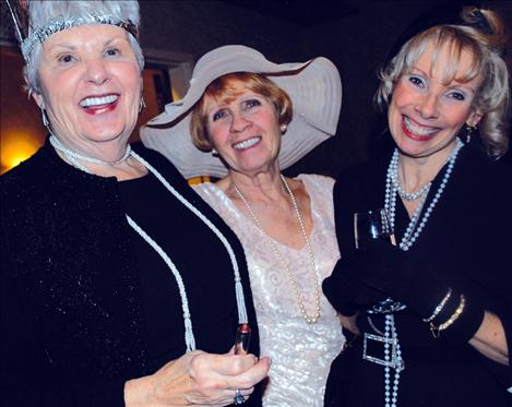 Flappers Rosemary Ekstrom, left, Lucy McCrumb and Karen Lewing enjoy the pre FLIC festivities.