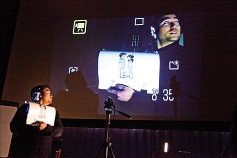 Animator Jeff Chiba Stearns presents a workshop after showing a series of short animated films.