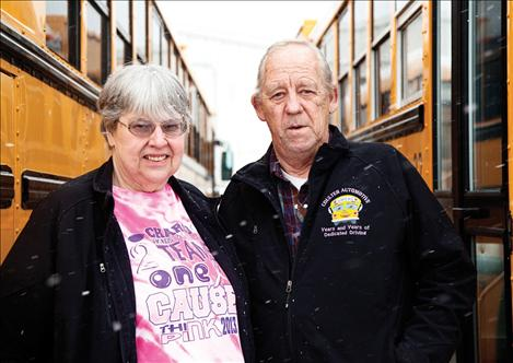 Cindy Paulsen and Clyde Olsen are longtime Charlo bus drivers.