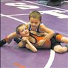 Tommy Sharrard and Chase Brockman wrestle in Saturday's Little Guy Wrestling Tournament held in Polson.