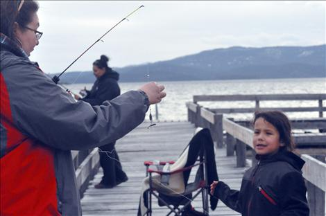 Annie and Masada Buffalo fish for lake trout during Spring Mack Days on Flathead Lake.