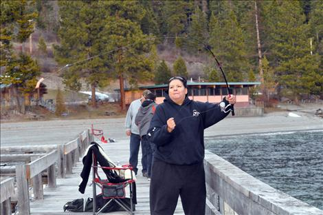 Denise Morgan fishes for lake trout during Spring Mack Days on Flathead Lake.