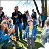 Families gather to take photographs with the Easter Bunny Saturday in Ronan's Bockman Park