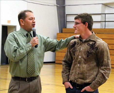 Charlo Athletic Director Thom Peck and Jacen Peterson