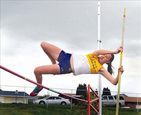 In addition to competing in pole vault, Polson's Lydia Bowman took first in the 200 meter and second in the 100 meter to help lead the Lady Pirates' team to the first-place spot.