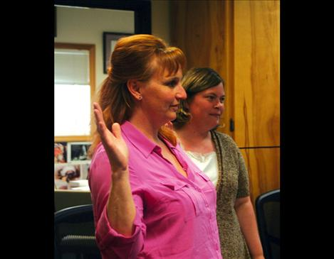 Lisa Koetter and Wendy Forgey were sworn in last week as new Arlee School board members during the general meeting.