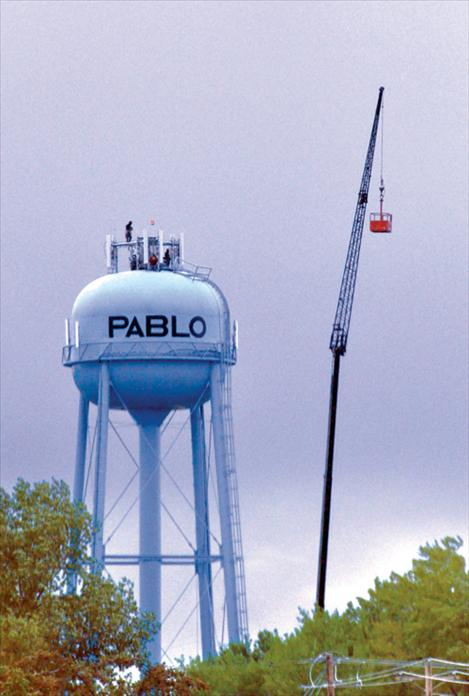Megan Strickland/Valley Journal  A new AT&T cell phone tower is installed atop the 300 feet tall Pablo water tower.