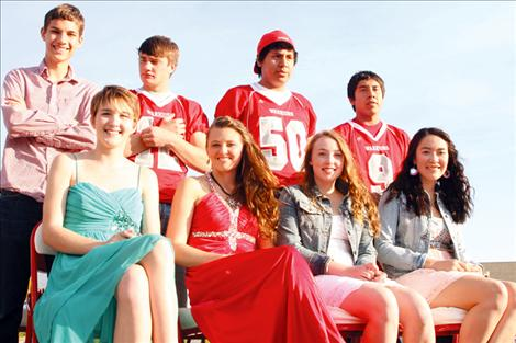 Arlee Homecoming royalty from back, left are: Parker Holz, King Riley Rogers, Chance No Runner Brazill, PJ Haynes; front: Katelyn Revis, Alex Adams, Amelia North, and Queen Violet Pablo.