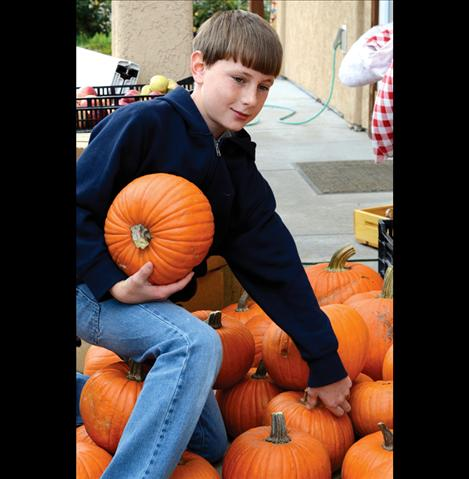 Caleb Mohler, 10, sorts the pumpkins he wants to sell at the Arlee Fall Festival.