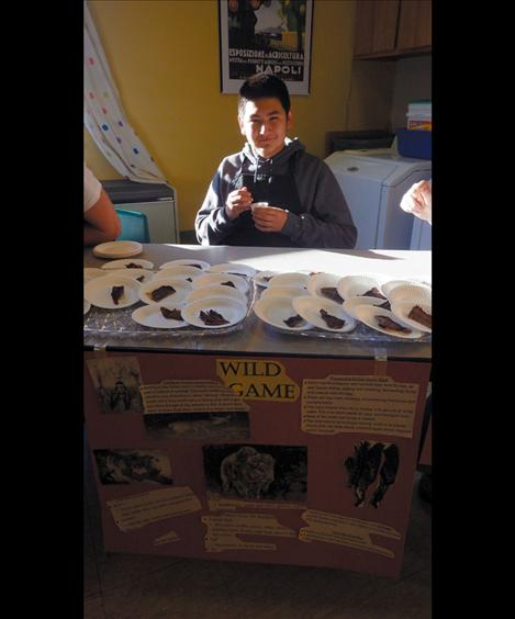 """Ronan High School Culinary Arts students share samples of Pemmican (""""Wasna"""")."""