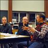 Charlo school board trustees Reece Middlemist and Dave DeGrandpre talk with Principal Steve Love about possibly accepting transfer students.