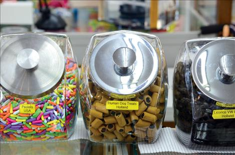 "A variety of black licorice flavors includes one named ""human dog treats."""