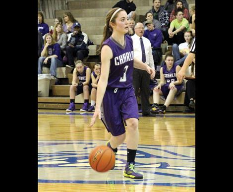 Lady Viking Cheyenne Nagy brings the ball upcourt in Saturday's game against Stillwater Christian.