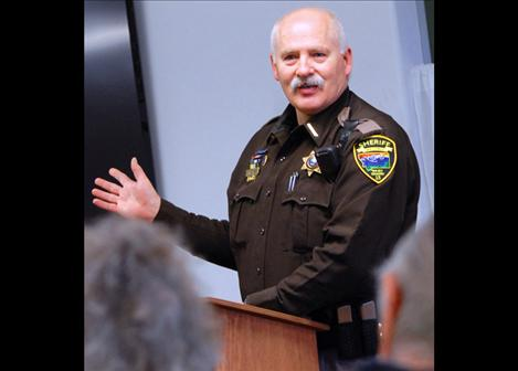 Lake County Sheriff Don Bell answers questions during a recent meeting of the Pachyderm Club in Polson.