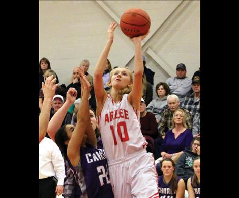 Scarlet Carly Hergett leads the Scarlets more than once in points scored per game.