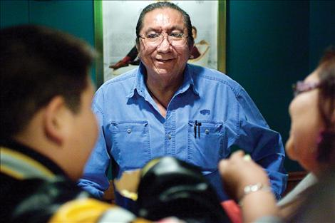 Left, Ernie LaPointe, great-grandson of Hunkpapa Lakota headman Sitting Bull, presented a film of the family tales and memories told to him about his grandfather.