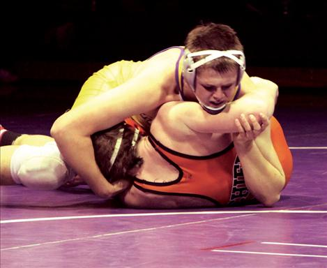 Pirate junior Tele Seemann pins Ronan opponent at Polson's home-hosted meet. Seemann has enjoyed a dominating season having only lost a single conference match.