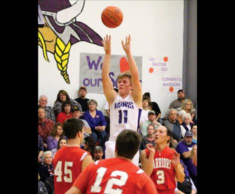 Viking Kobe Cox fights off shoots above Warriors' in Thursday's valley battle between the valley rivals.