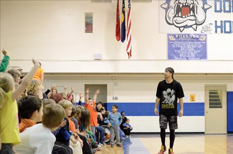 Dunk Champion of the World Kenny Dobbs motivates students to lead a positive life.