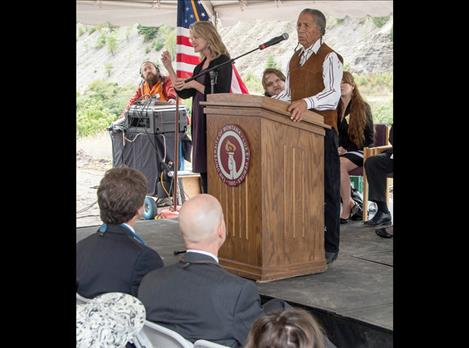 "Salish elder Louis ""Louie"" Adams speaks at the groundbreaking for the new Missoula College building on Aug. 22, 2014."