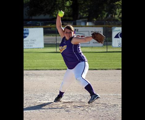 Lady Pirate Camas Renault fires a pitch in Thursday's home hosted game against Columbia Falls.