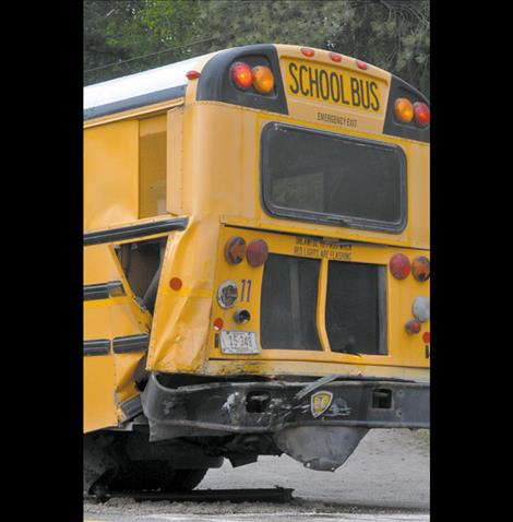 Both the school bus and pickup truck involved in a Highway 35 crash were totaled. School children who reside along Highway 35 will be taking a rental bus to school for the rest of the school year.
