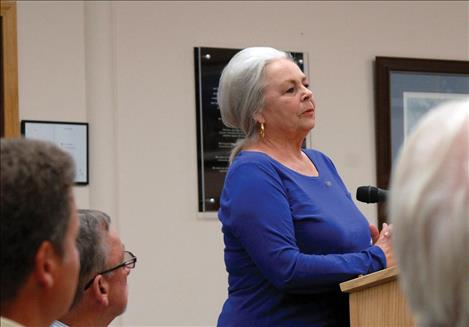 Joyce Norman speaks to the city commission regarding the minor subdivision she and her husband were requesting.