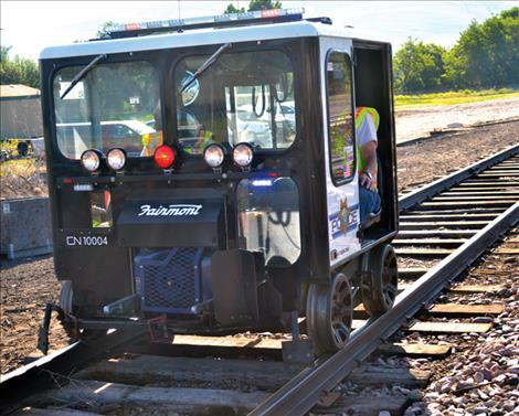 A railcar is detailed as a sheriff''s vehicle, complete with emergency lightbar.
