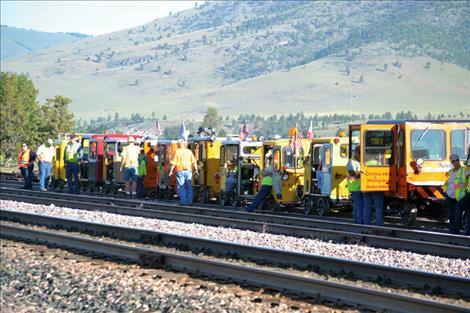 """Railcar owners await the start of the Pines to Prairie"""" Montana tour June 9."""