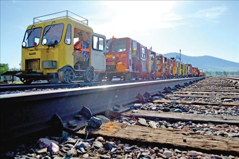 """A group of 31 railcars and their operators begin the first leg of their """"Pines to Prarie"""" Montana tour from Dixon."""