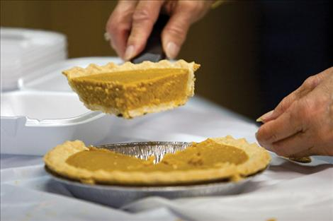 Pumpkin pie means Thanksgiving to many people, and homemade pumpkin pie will on the menu at the Polson Community Thanksgiving  dinner. Local folks may donate salads, pies or dinner rolls if they can. Call Cathy Corrigan at the Polson Senior Citizens Center at 883-4735 and let her know about food donations.