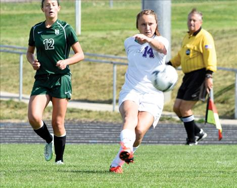Olivia Hewston sends the ball downfield during the Lady Pirates' match with Belgrade Friday afternoon. Polson won 1-0.