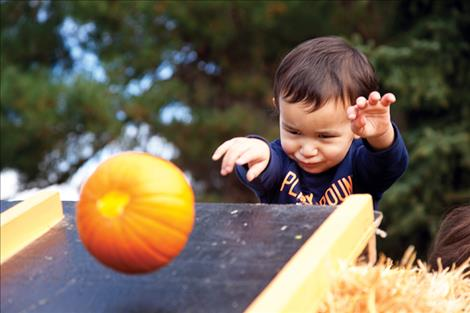 Nicole Tavenner/Valley Journal Zaydenn Boney concentrates as he throws a pumpkin down the bowling lane at Saturday's Ronan Harvest Fest.