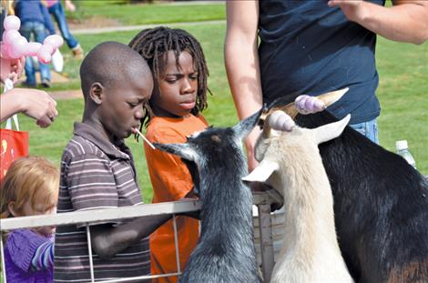 A petting zoo, with goats, a miniature cow, pony, bunnies, ducks, a chicken and more was a popular attraction.