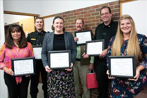 SAFE Harbor honored six hometown heros Oct. 14, including community activist Eleanor Vizcarra, Lake County Sheriff's Office Detective and Coroner Rick Lenz, PEACE founder Bonnie Klein, Lake County Detention Officer John Todd, Ronan Police Officer James Garcia and CSKT Prosecutor Kelly McDonald.