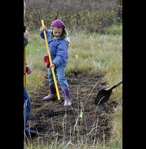 Natalie Helser, 10, works the soil to get it ready for planting.