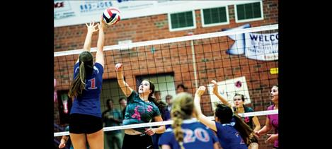 """Lady Pirate  Nichole Lake,  No. 9, sends  a kill past the hands  of a defender in a recent home game.  Coach Patricia Luetzen called Lake and her senior  teammates  """"a class act."""""""