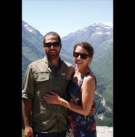 lias Nawawieh with his wife Katie Rowold in Glacier National Park.