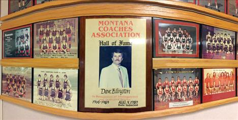 Some of Dave Edington's accomplishments in 20 years as Ronan's head coach are immortalized on a wall near the gymnasium.