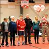 Alex Bertollt, standing with his family, is the lone senior honored at Friday's Arlee Mixer.