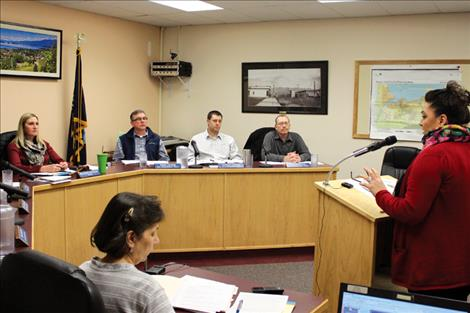 Melanie Smith of CSKT Tribal Social Services, addresses the Polson City Commission about developing an alliance between the city and the tribes in an effort to combat the area's drug problems.