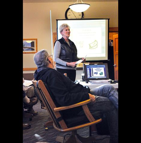 Jill Southerland presents resort tax information at the Feb. 18 Polson Economic Development Council meeting