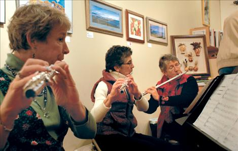 Flathead flautists Margery Christiansen, Libby Smith and Kathy Quist entertain with carols.