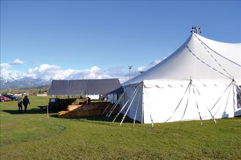 "The annual fundraiser was held on the Polson Fairgrounds site, under ""the big top."""